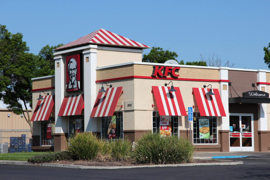 FRESNO UNITED STATES - APRIL 12 2014: KFC fast food restaurant in Fresno California. As of December 2013 KFC had 18875 outlets in 118 countries.